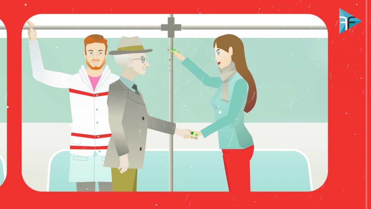Flatdesign Charakter im Zug im Erklaervideo Grippeimpfung